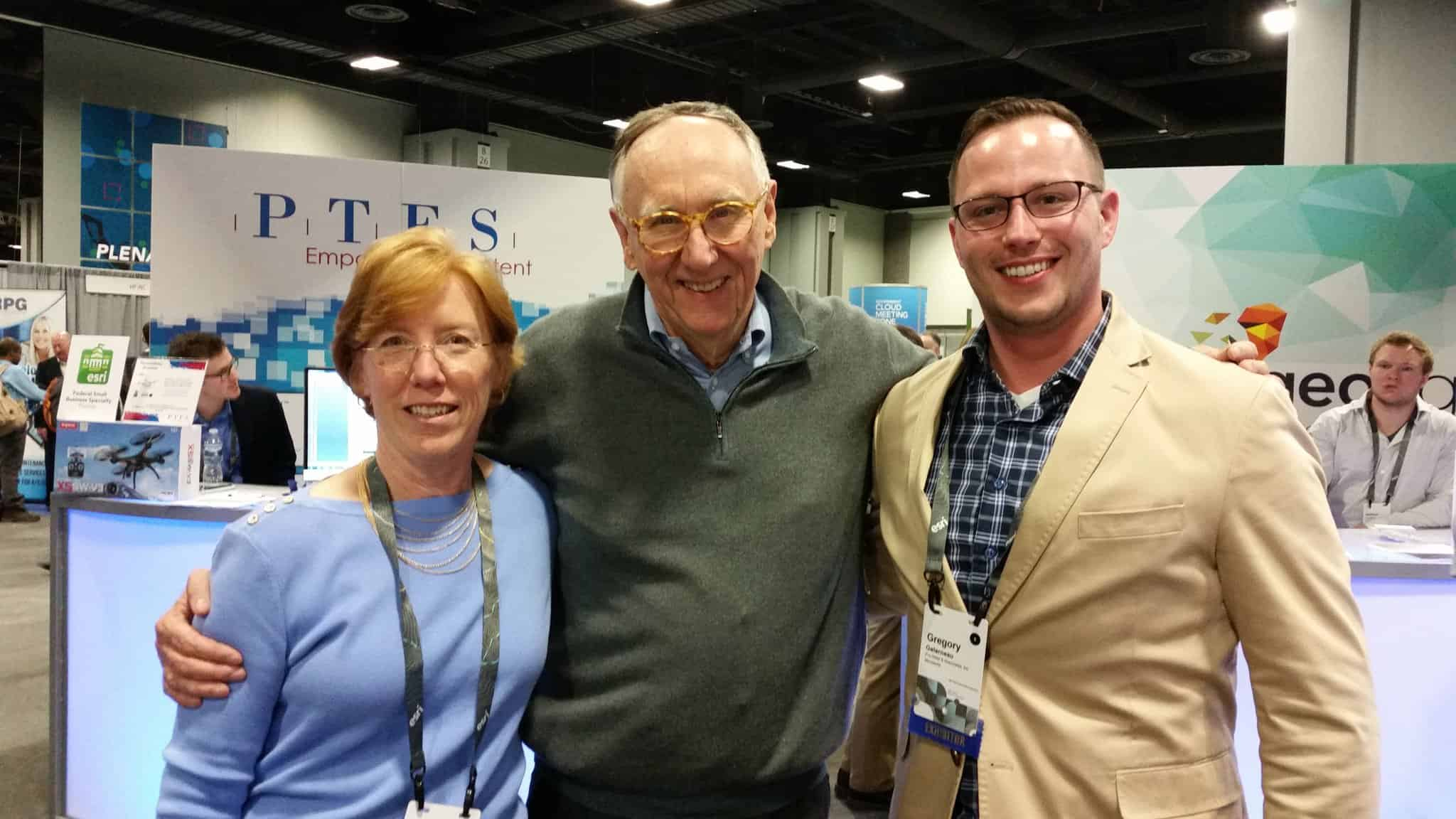 Pro-West President & CEO, Annette Theroux, and Business Development Manager Greg Galarneau with Jack Dangermond at Esri FedGIS 2017